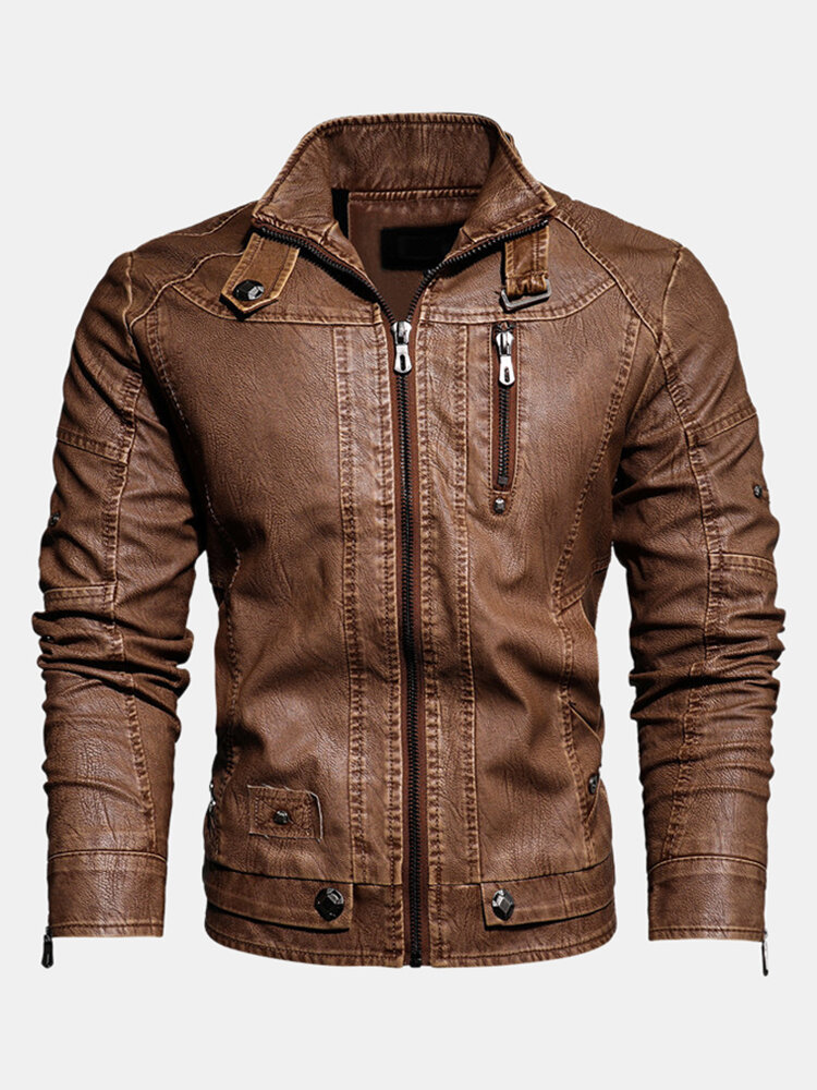 Best Mens Leather Slim Fit Coats Long Sleeve Fleece Lined Warm PU Leather Outerwears You Can Buy