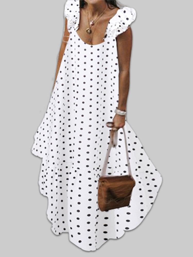 Best Bohemian Polka Dot Ruffle Trim Plus Size Maxi Dress You Can Buy