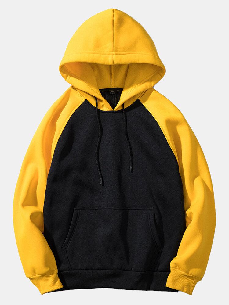 Best Mens Colorblock Pocket Long Sleeve Casual Loose Drawstring Hoodies You Can Buy