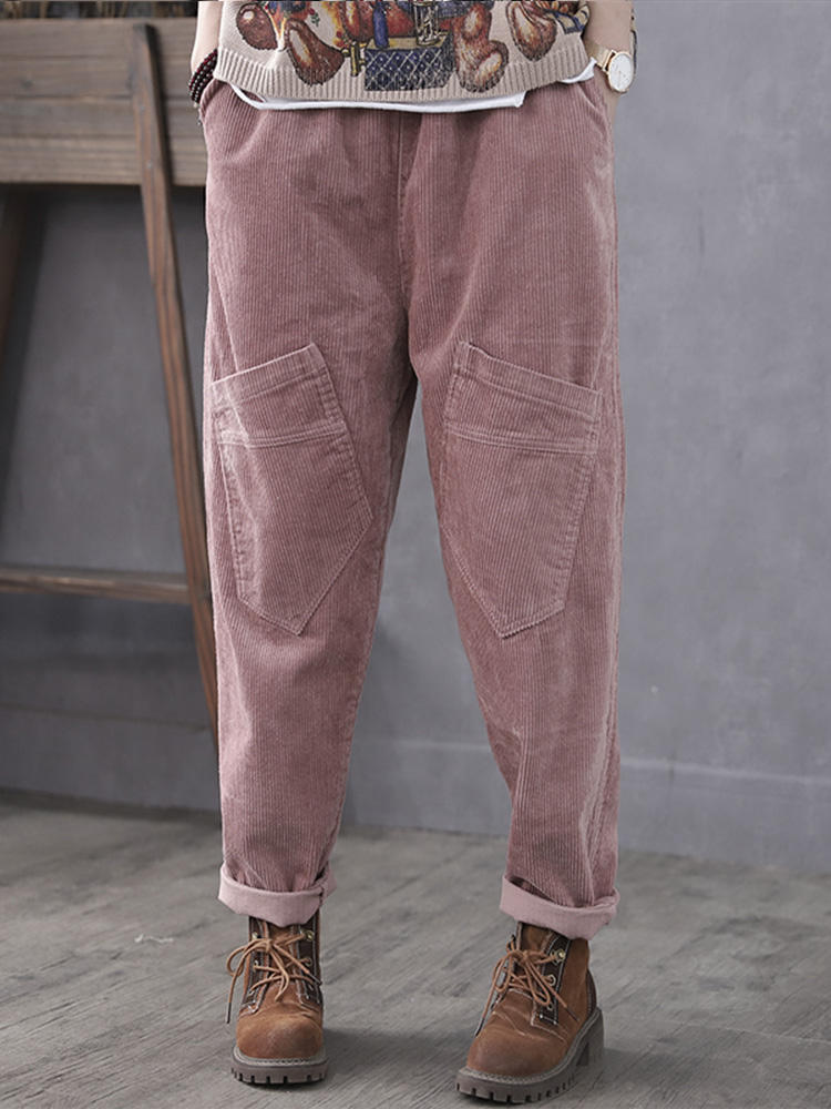 Best Corduroy Casual Elastic Waist Plus Size Pants with Pockets You Can Buy