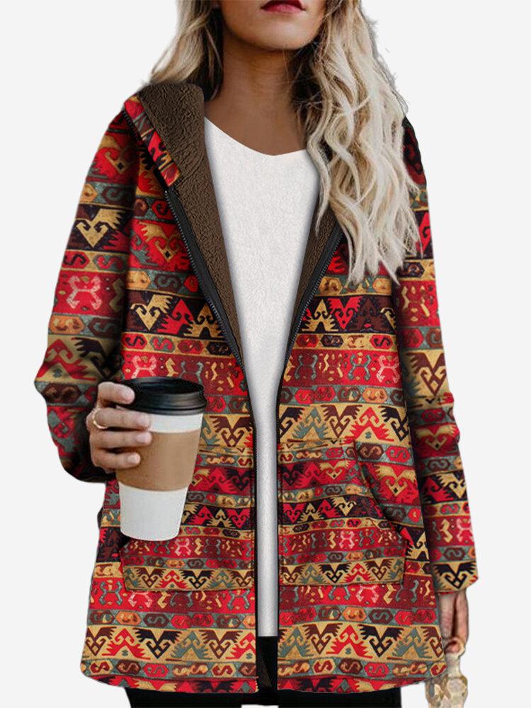Best Vintage Print Pockets Long Sleeve Hooded Fleece Winter Zipper Coat You Can Buy