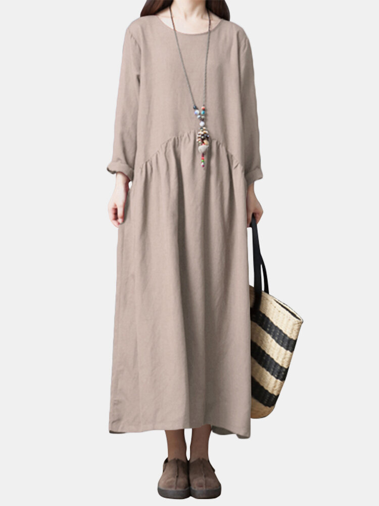 Best Vintage Solid Long Sleeve Patched Loose Dress You Can Buy
