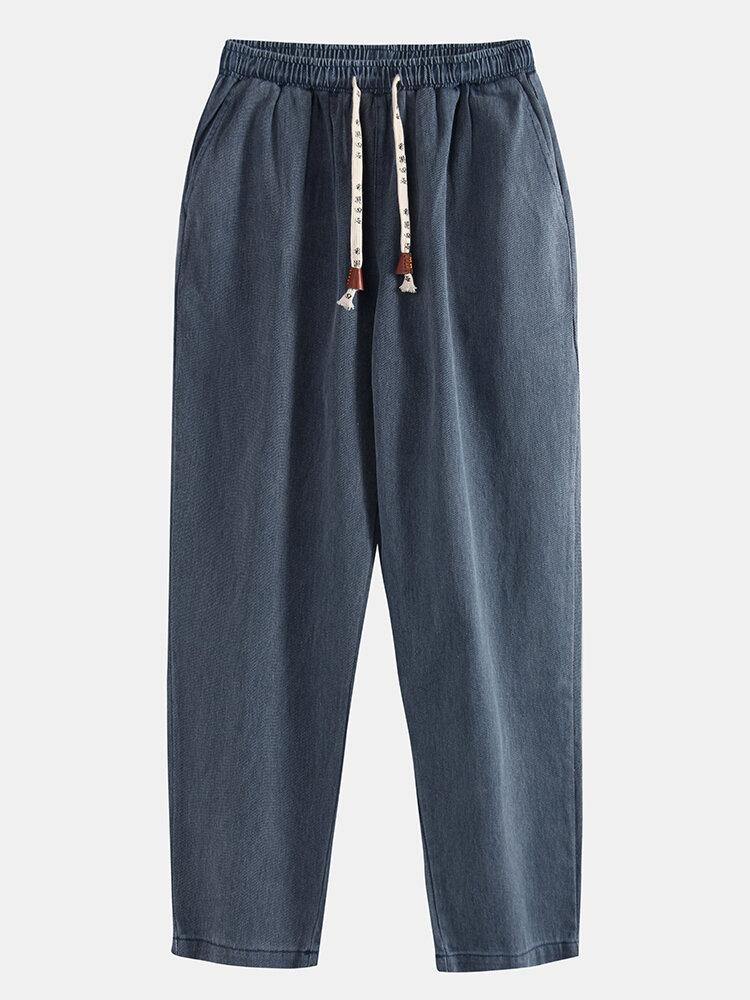 Best Mens Plain Cotton Denim Solid Color Loose Multi Pockets Pants You Can Buy