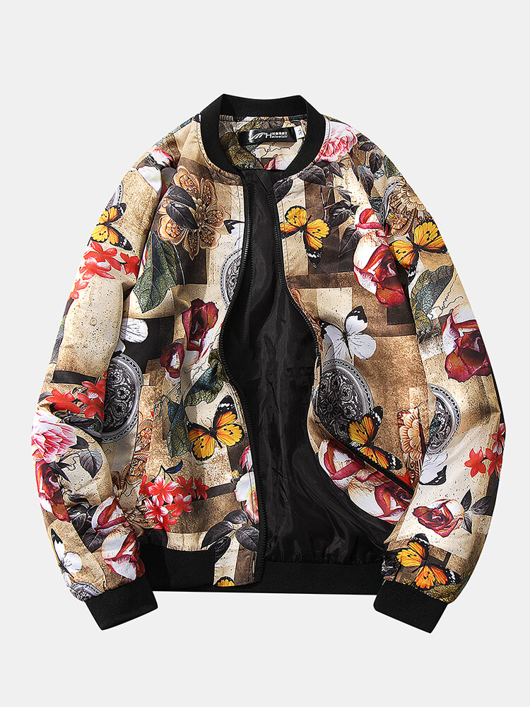 Best Mens Autumn Chinese Style Fashion Long Sleeve Round Neck Floral Jacket You Can Buy