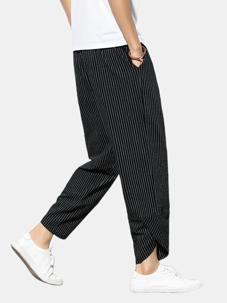 Best Mens Plain Linen Stripe Loose Irregular Ankle Pants You Can Buy
