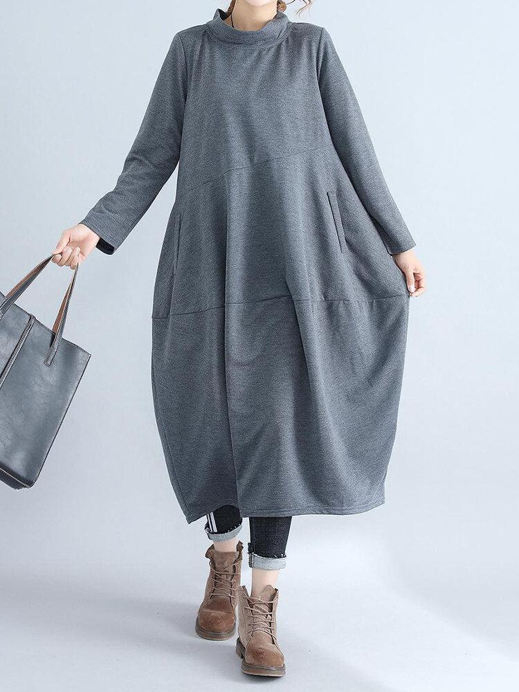 Best Solid Color Turtleneck Long Sleeve Plus Size Baggy Vintage Dress You Can Buy