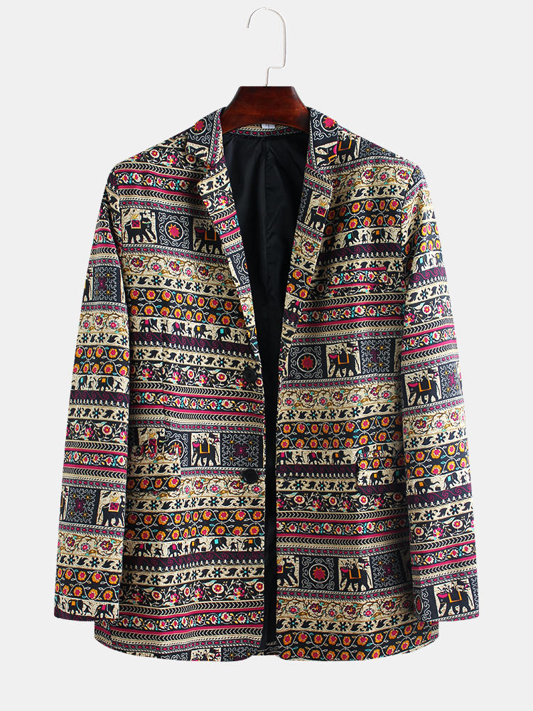 Best Mens African Style Little Elephant Printing Long Sleeve Casual Suits Blazers Coats You Can Buy