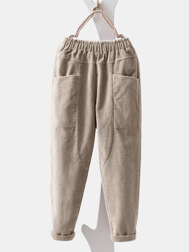 Best Corduroy Pocket Elastic Waist Casual Pant You Can Buy