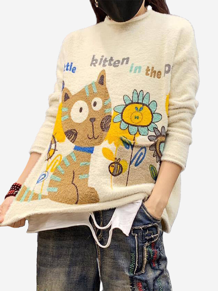 Best Casual Print Cat Long Sleeve Sweater For Women You Can Buy