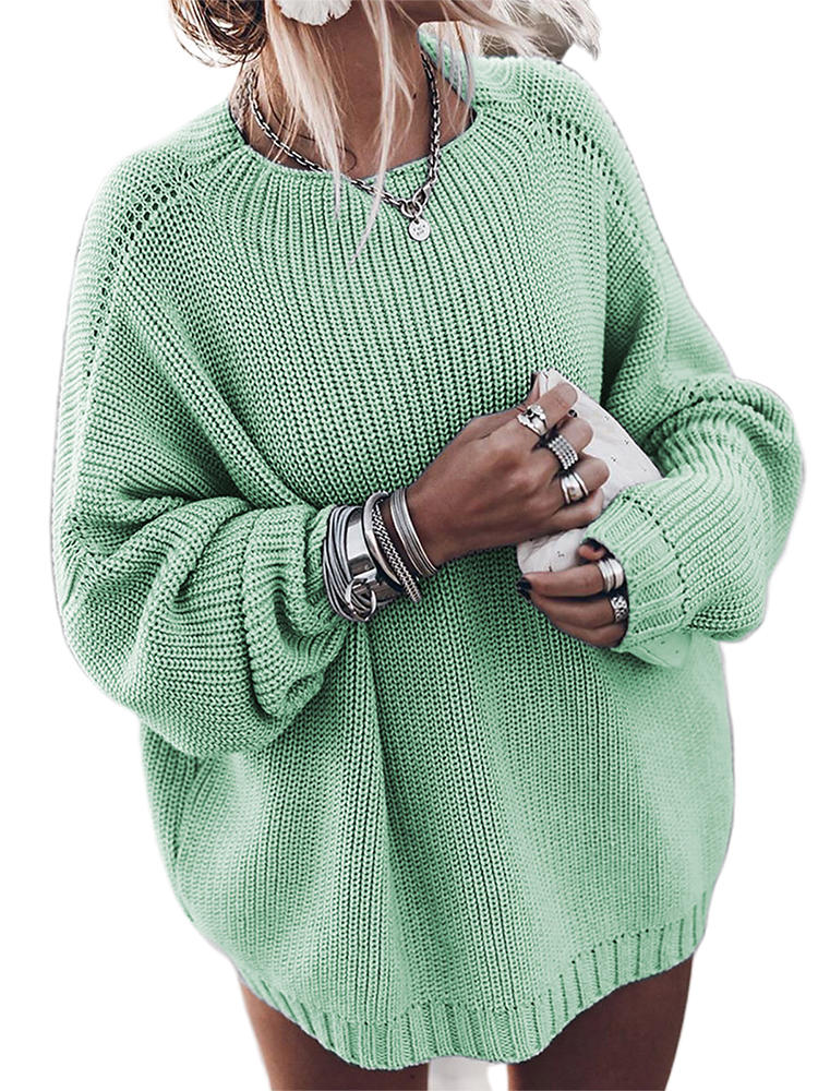 Best Casual Solid Color Long Sleeve O-neck Oversized Women Sweater You Can Buy