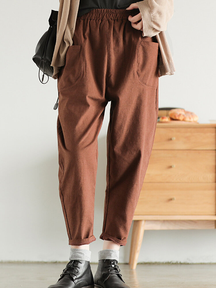 Best Vintage Simple Solid Color Pockets Women Pants You Can Buy