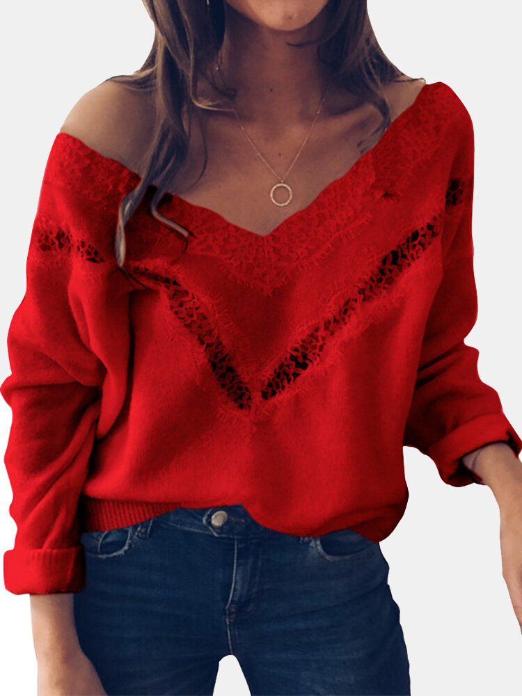 Best Lace Patchwork Solid Color Long Sleeve Sweater For Women You Can Buy