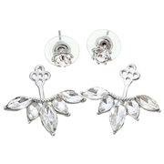 Fashion Silver Gold Rose Gold Zircon Leaf Stud Earrings