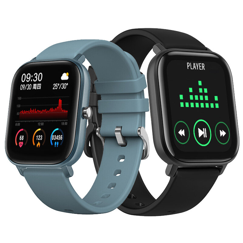 [Custom Dials]Bakeey P8 1.4inch Full Touch Screen Heart Rate Blood Pressure Oxygen Monitor Weather Push Music Control Smart Watch