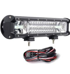 16inch 216w 7d led work light bars flood spot combo 10 30v with wiring harness kit for jeep off road truck cod [ 1200 x 1200 Pixel ]