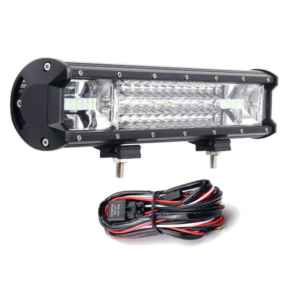 medium resolution of 16inch 216w 7d led work light bars flood spot combo 10 30v with wiring harness kit for jeep off road truck cod