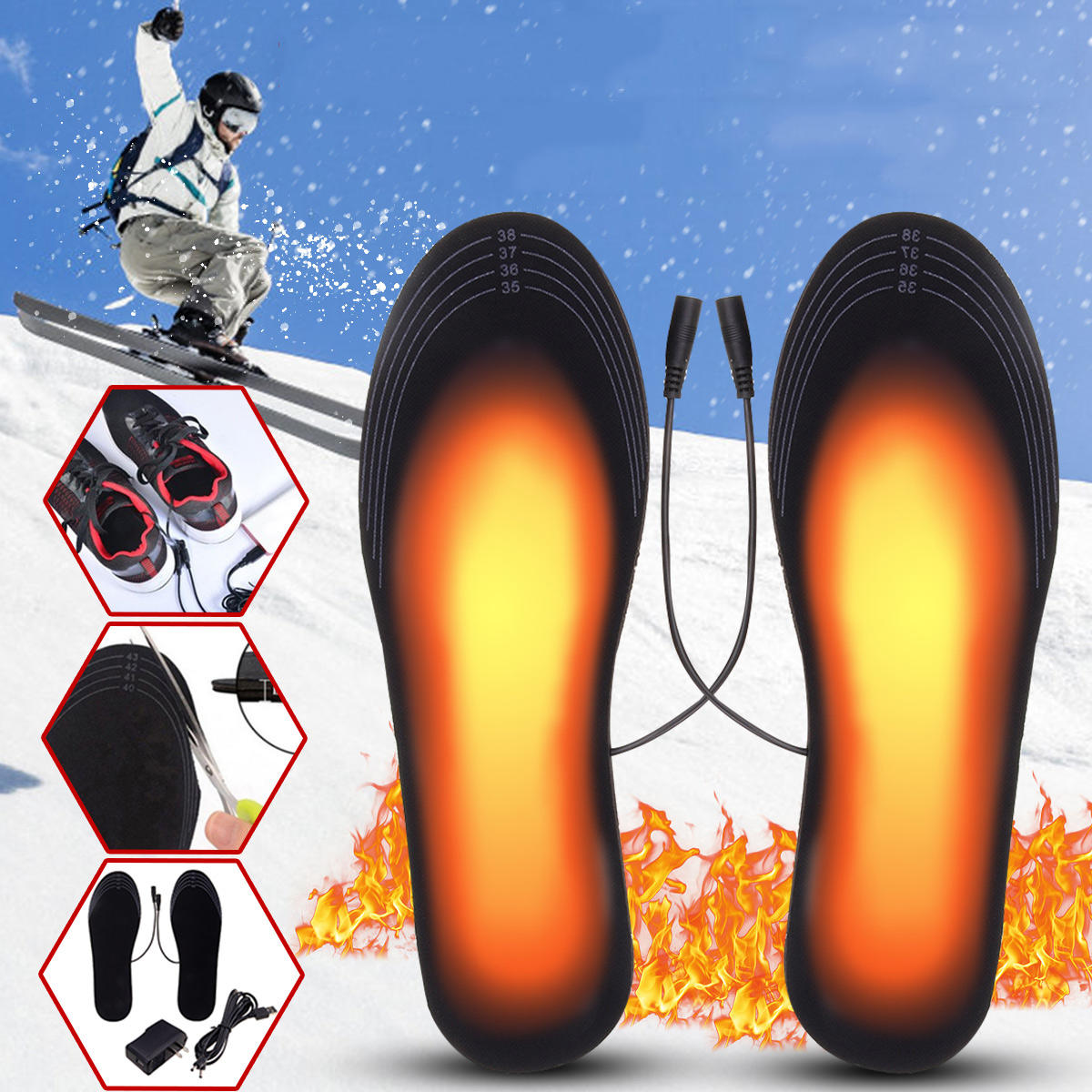 Ευρωπαϊκή αποθήκη | 5V 2A Electric Heated Feet Shoe Insole USB Foot Heater Warmer Breathable Deodorant With Adapter