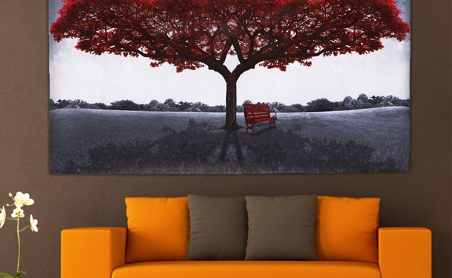Large Red Tree Canvas Modern Home Wall Decor Art Paintings