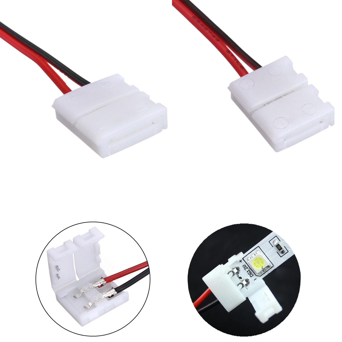 hight resolution of lustreon 2 pins power connector adaptor for 3528 5050 led strip wire with pcb 8mm cod
