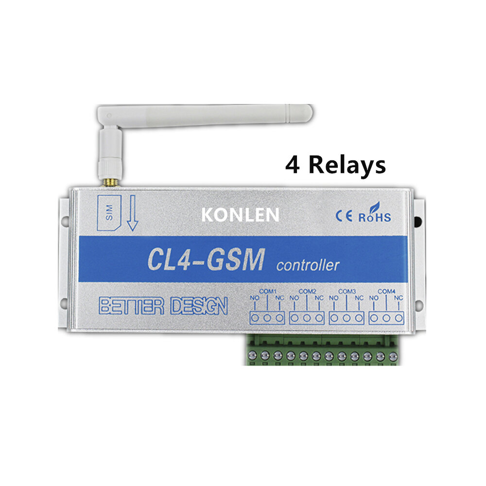 medium resolution of 4 relay of gsm controller sms call remote control switch on off garage door gate opener light curtain motor pump home automation cod