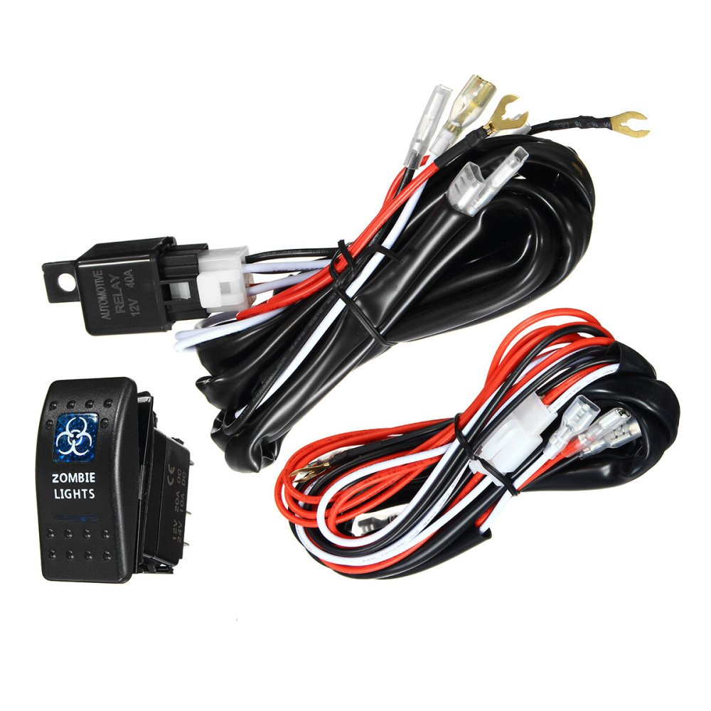 medium resolution of 12v 24v 300w 40a led illuminated backlit rocker switch relay fuse wiring kit suv 4wd waterproof spot light cod