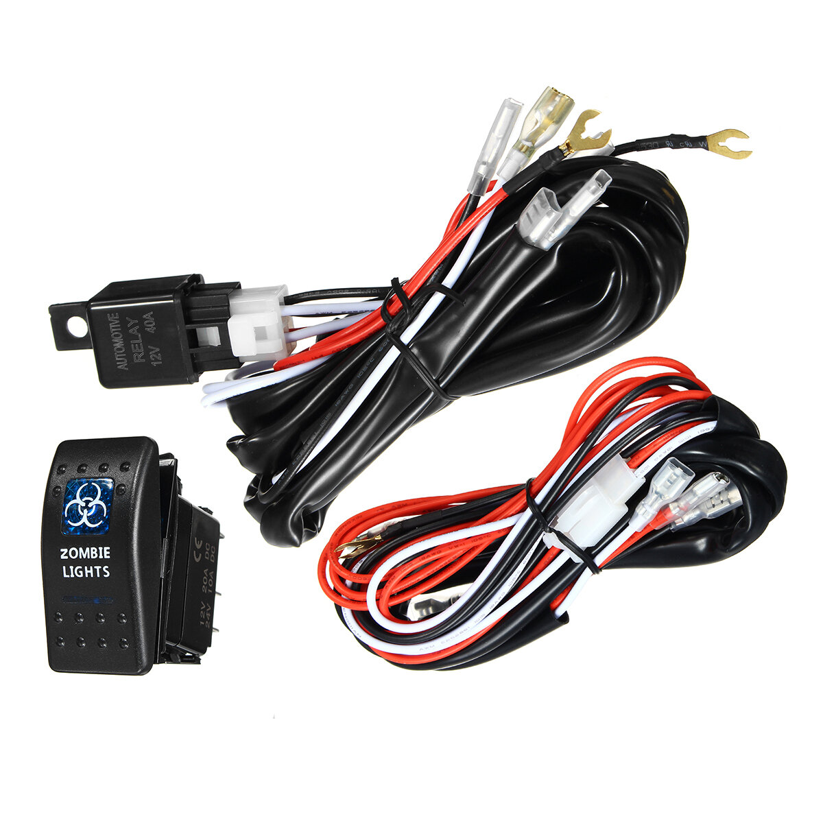 hight resolution of 12v 24v 300w 40a led illuminated backlit rocker switch relay fuse wiring kit suv 4wd waterproof spot light cod