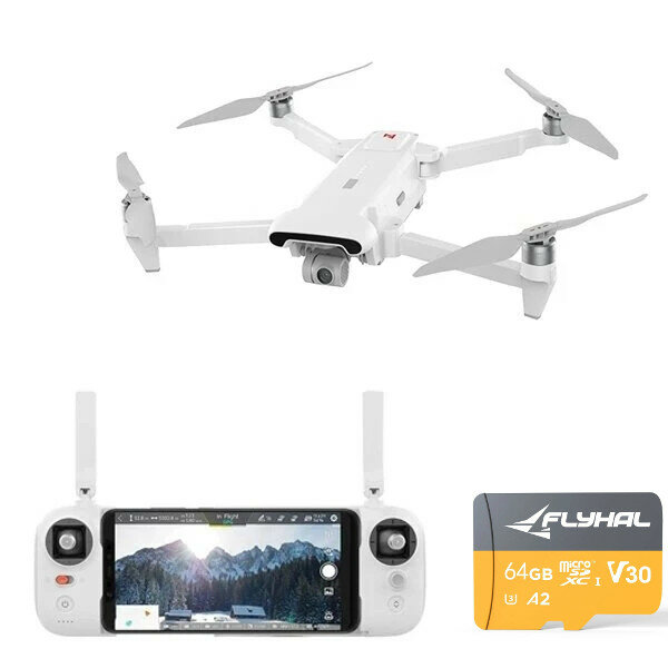 FIMI X8 SE 2020 Drone with 64GB 160MB/s TF Card 8KM FPV With 3-axis Gimbal 4K Camera HDR Video GPS 35mins Flight Time RC Quadcopter RTF One Battery Version - No FIMI Premium Care
