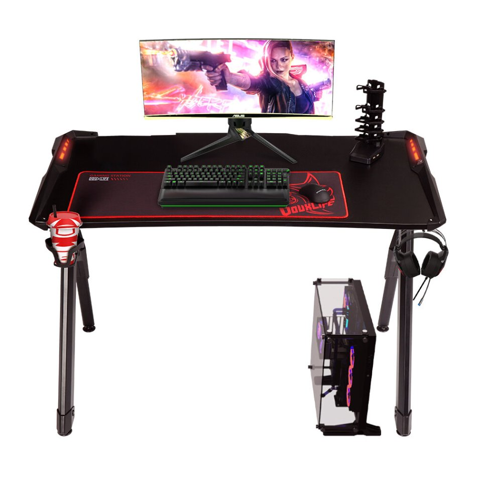 "Douxlife Blade GD01 Gaming Desk R-Shaped Metal Frame 47"" Stable Desktop Gamer Workstation with 6 RGB Lighting Color Effects for Home Office"