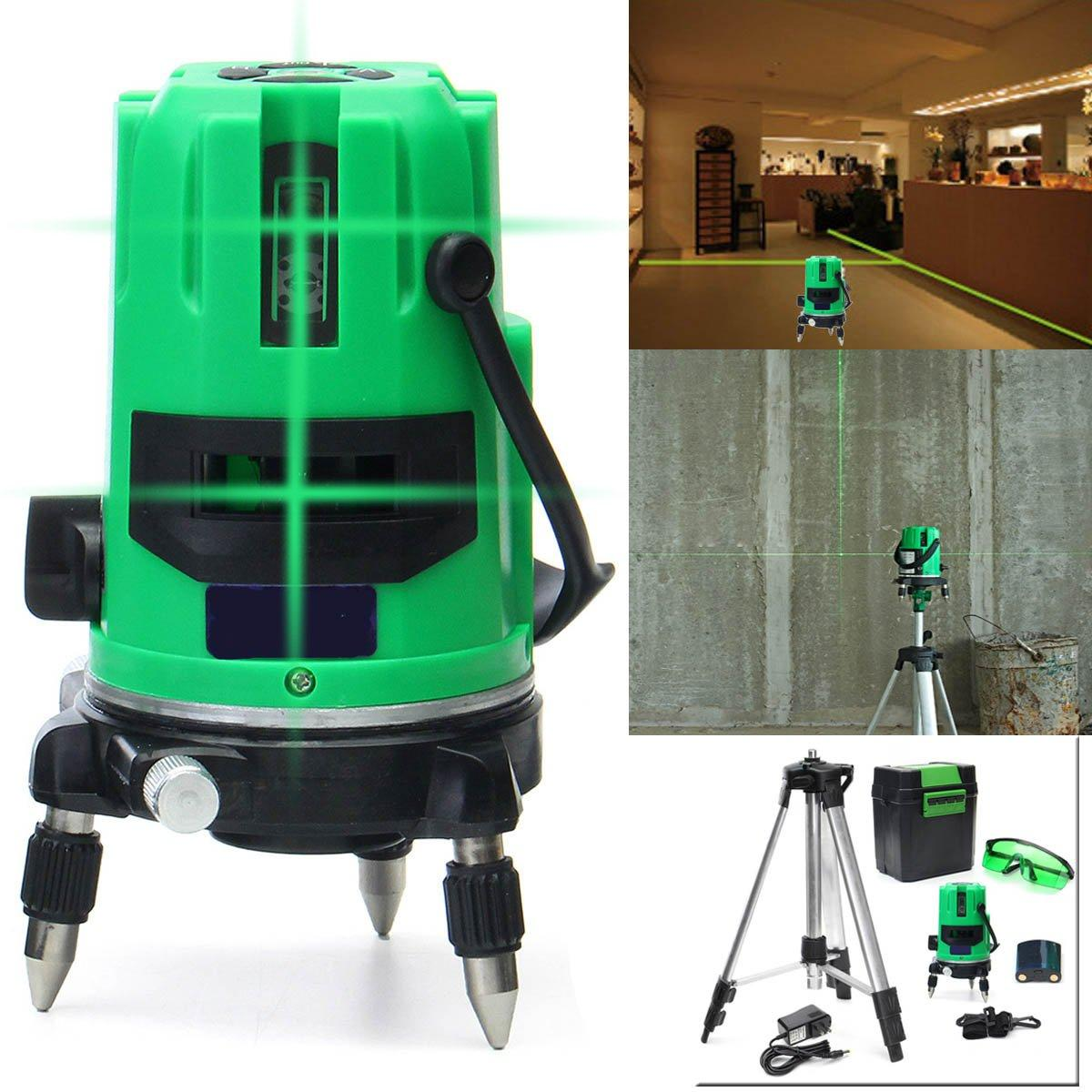 hight resolution of green 5 line 6 points laser level 360 rotary laser line self leveling with tripod cod