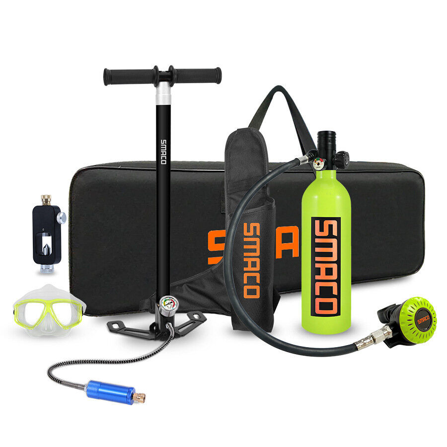 SMACO S400+ Protable 1L Scuba Diving Tank Equipment Set With Hand Pump Underwater Oxygen Tank + 360° Rotatable Joint