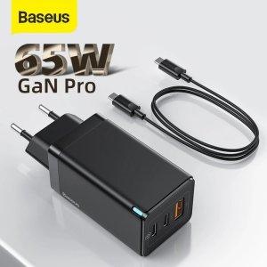 Στα 21 € από αποθήκη Κίνας πάρε 65w φορτιστή και δεν θα πάει χαμένος μετά τα νέα κόλπα στα κινητά | [GaN Tech] Baseus GaN2 Pro 65W 3-Port USB PD Charger Dual 65W USB-C PD3.0 QC3.0 FCP SCP Fast Charging Wall Charger Adapter EU Plug US Plug With 100W 5A USB-C to USB-C Cable – Black EU Plug