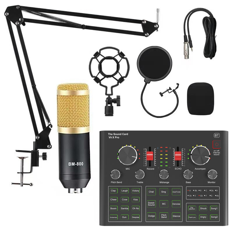BM800 Condenser Microphone with V9X PRO Sound Card Mixer Live Broadcast Recording Set Mic Phone K Song Computer Karaoke Sing