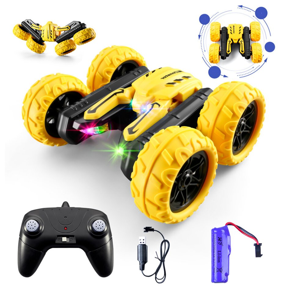 S688 Upgraded High Speed RC Stunt Car Toy with Colorful LED Headlights Cool Sound 2 Sided 360 Rotation 800mAh Battery 4WD 2.4G RC Crawler Toy for Boy Kids Girl