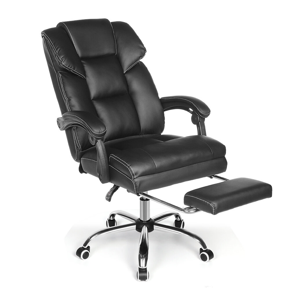 Ευρωπαϊκή αποθήκη | BlitzWolf® BW-OC1 Office Chair Ergonomic Design with 150°Reclining Wide Seat Retractable Footrest PU Material Lumbar Pillow