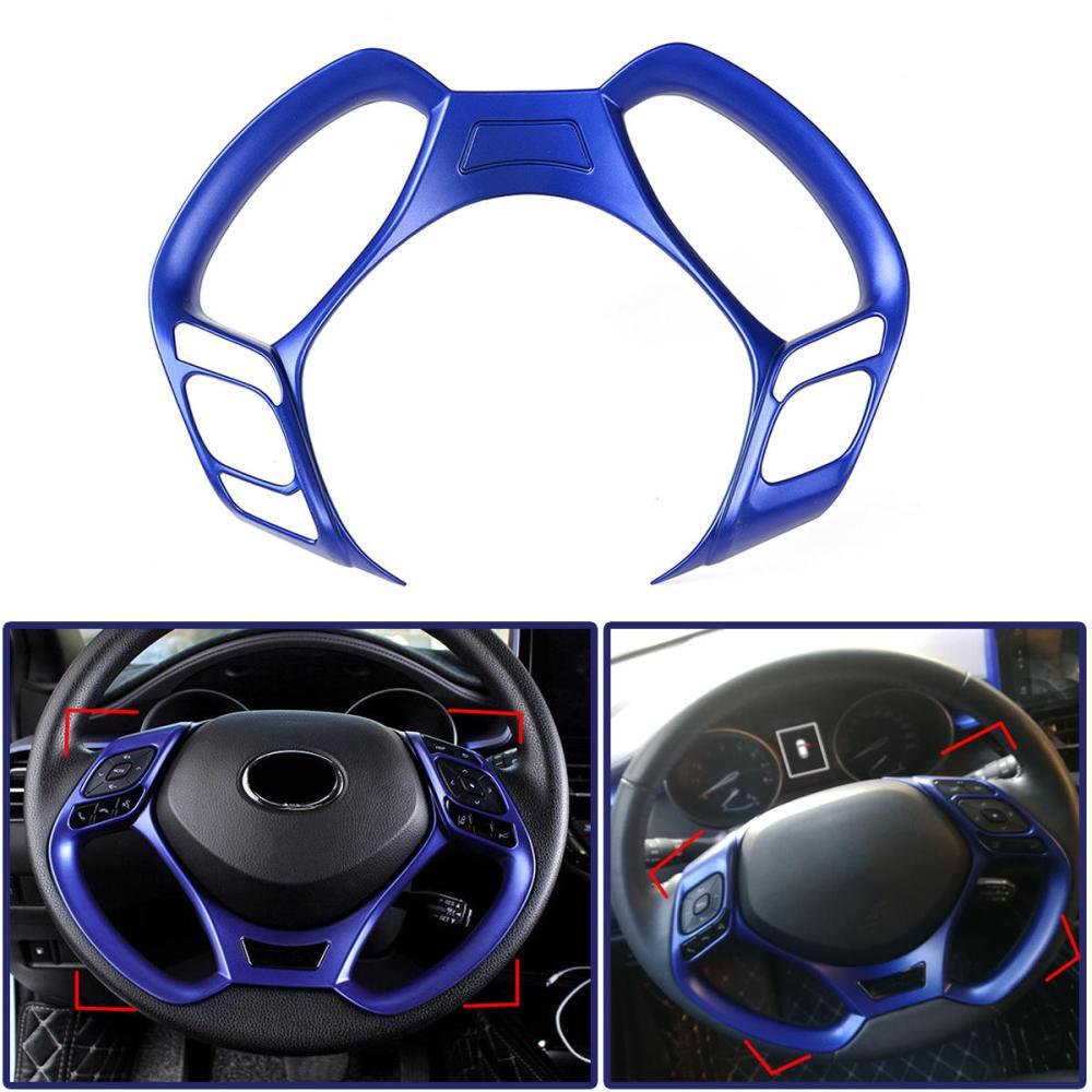 medium resolution of car interior steering wheel button covers trim blue decoration for toyota c hr 2016 2017 2018 2019 cod