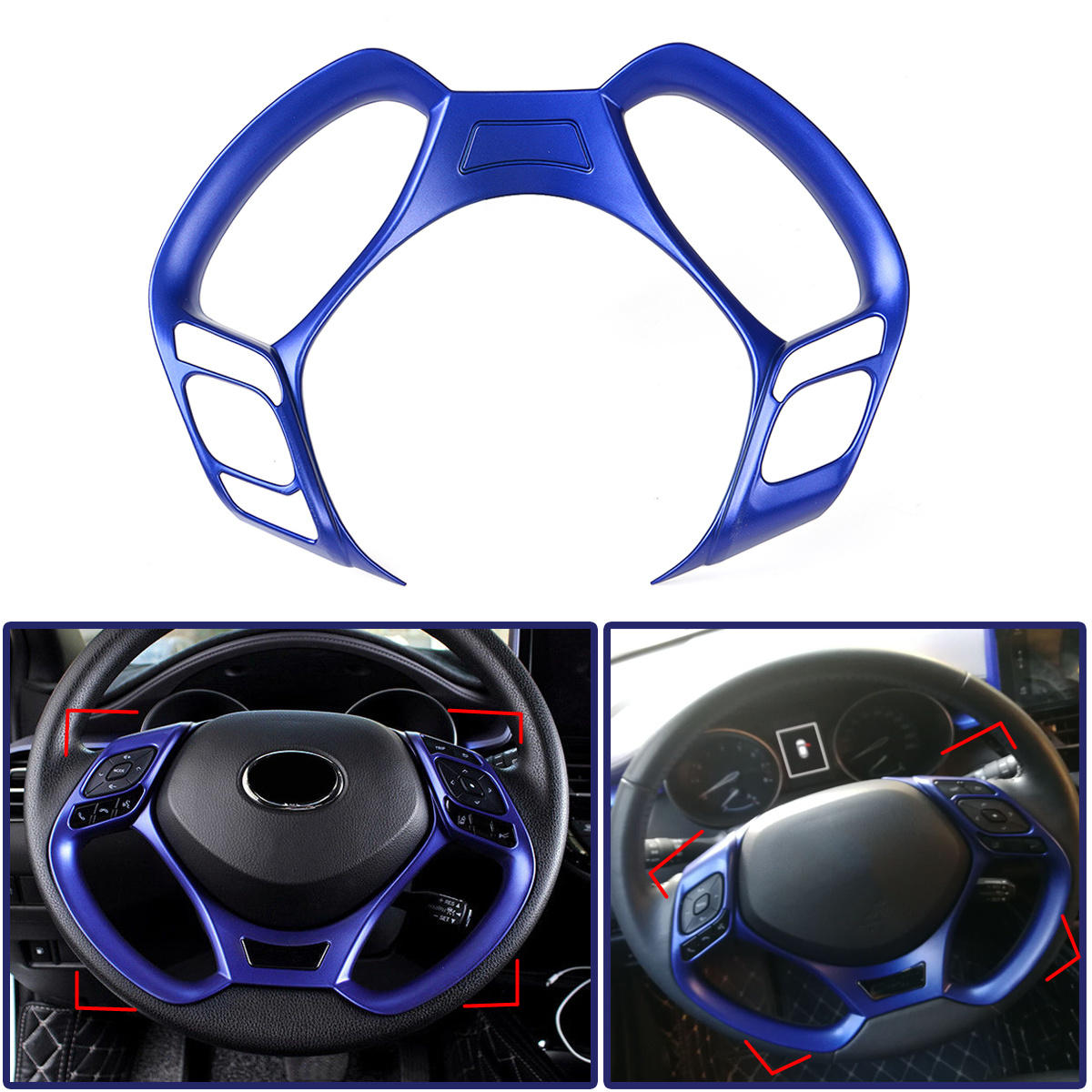hight resolution of car interior steering wheel button covers trim blue decoration for toyota c hr 2016 2017 2018 2019 cod