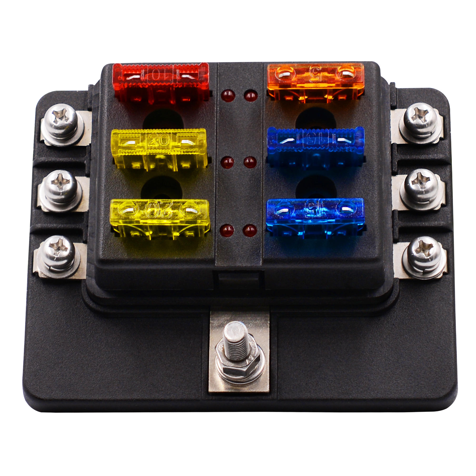 hight resolution of 12 32v 6 way 12 blade fuse box holder led warning lights car race rally marine cod