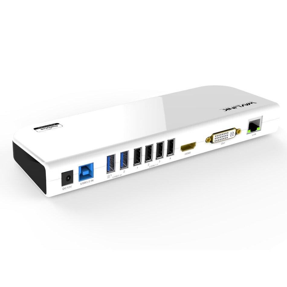 Wavlink Universal USB 3.0 Laptop Docking Station Dual Video Display Monitor RJ45 Gigabit Ethernet Support 1080P DVI/HDMI
