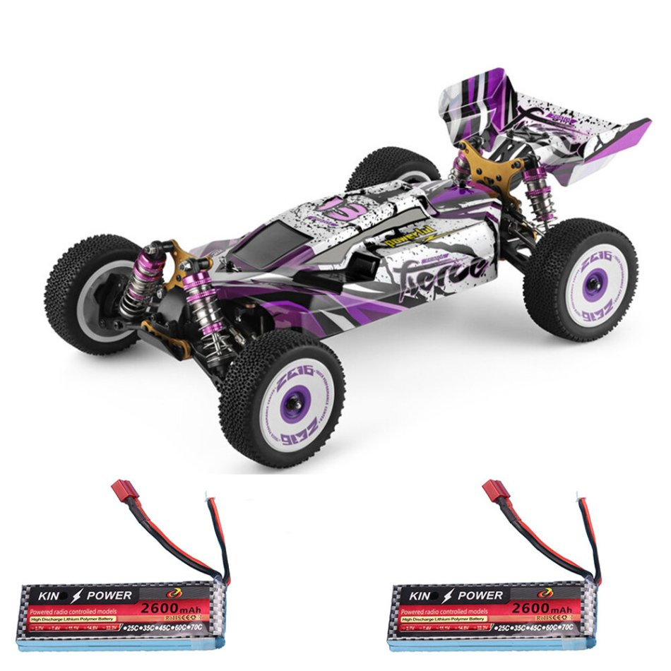 Wltoys 124019 RTR Two/Three Upgraded 2600mAh Battery 2.4G 4WD 60km/h Metal Chassis RC Car Vehicles Models Toys