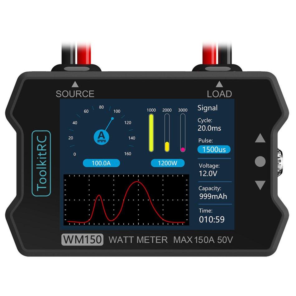 ToolkitRC WM150 150A 50V Watt Meter Power Analyzer LCD Display Power Voltage Current Tester PWM Output