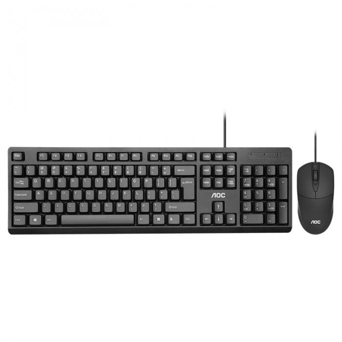AOC KM160 Wired Keyboard & Mouse Set 104 keys Waterproof USB Keyboard Mouse for Computer PC