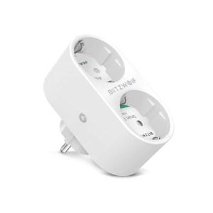 Στα 12€ από αποθήκη Κίνας   BlitzWolf® BW-SHP7 16A 2 IN 1 Dual EU Plug Smart WIFI Socket Independent Remote Controller Electricity Statistics Home Light Switch Timer