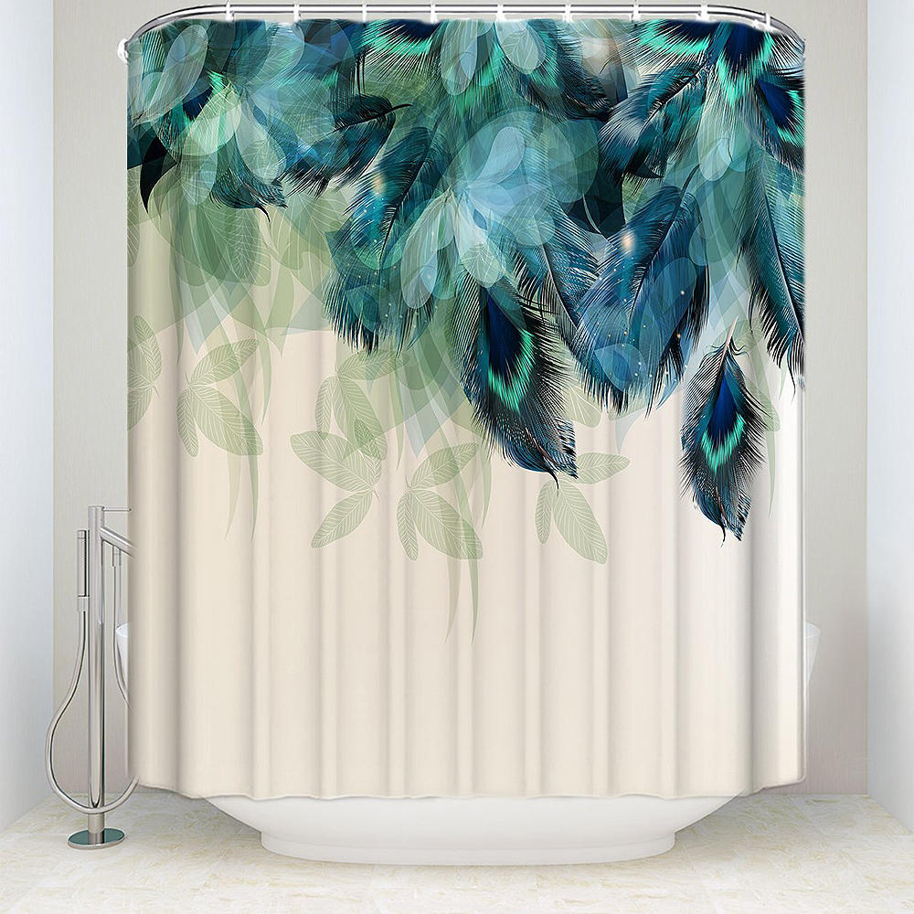 banggood 180x180cm watercolor decor shower curtain peacock feather pattern waterproof polyester fabric bathroom shower curtains from banggood cj