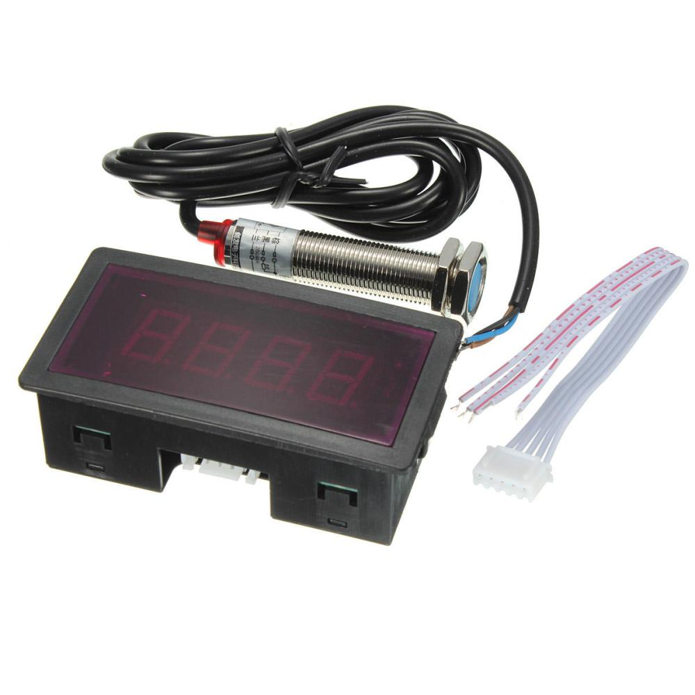 medium resolution of red led tachometer rpm speed meter with proximity switch sensor npn cod