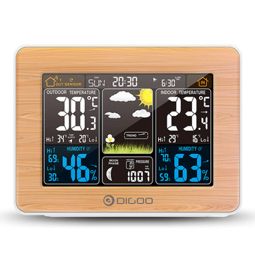 DIGOO DG-EX002 Wood Grain Color Screen Weather Station