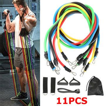 Ευρωπαϊκή αποθήκη   11pcs/set Fitness Resistance Bands Sport Pull Rope Yoga Band Home Gym Exercise Tools