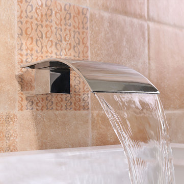 square silver bathtub waterfall water spout vanity wall mounted mixer tap spa faucet