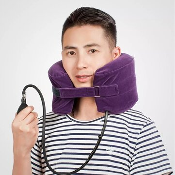 yuweill c shape cervical neck traction device spine massage travel pillow collar brace neck stretcher hammock support for neck pain relief fatigue