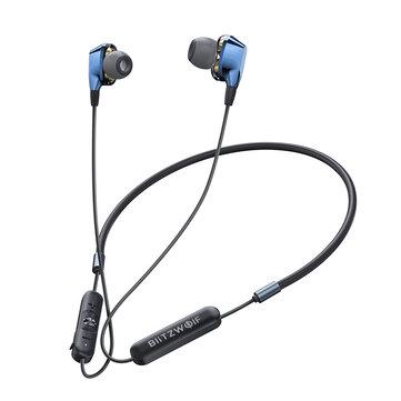 BlitzWolf® BW-BTS4 bluetooth 5.0 Earphone Wireless Neckband Dual Dynamic Driver Magnetic Sports Headphone with Mic