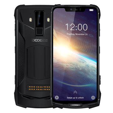 DOOGEE S90 Pro Global Bands IP68 Waterproof 6.18 inch FHD+ NFC Android 9.0 5050mAh 16MP AI Dual Rear Cameras 6GB RAM 128GB ROM Helio P70 Octa Core 4G Smartphone – Black EU Version